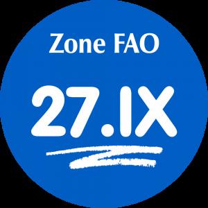 Adhésif Zone de pêche FAO - 27.IX / blanc sur bleu