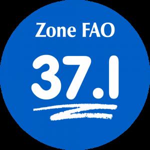 Adhésif Zone de pêche FAO - 37.I / blanc sur bleu