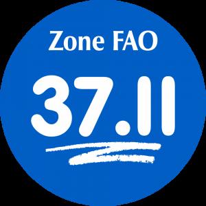 Adhésif Zone de pêche FAO - 37.II / blanc sur bleu