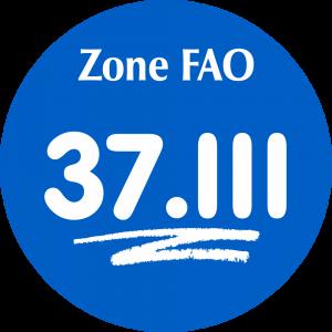 Adhésif Zone de pêche FAO - 37.III / blanc sur bleu