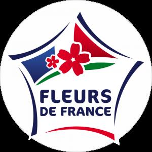 Adhésif Label Fleurs de FRANCE  bleu-blanc-rouge sur blanc